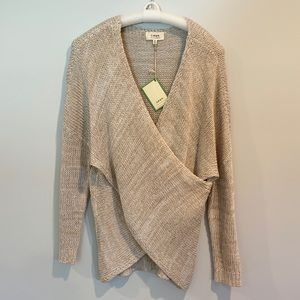 Tan Cream Cross Front Sweater